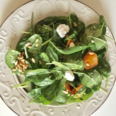 Salad with fresh spinach and pumpkin soofoodies